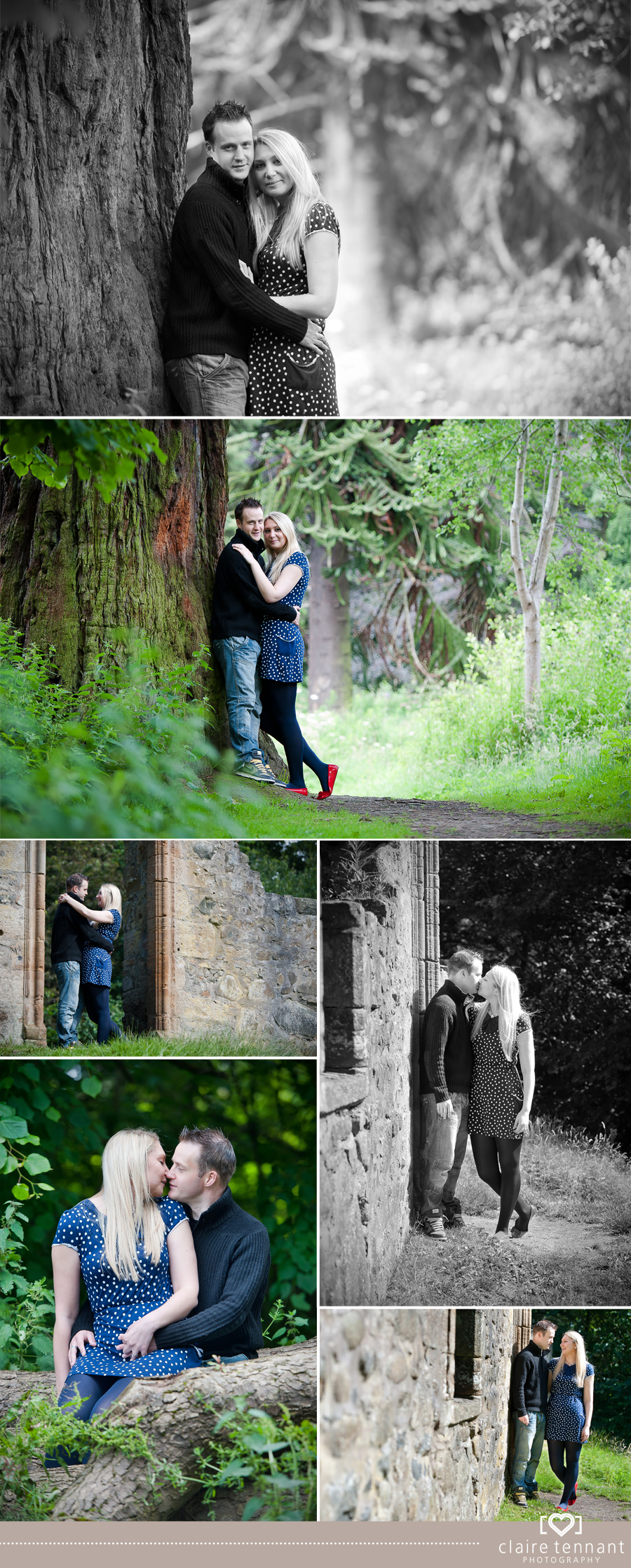 Jenna & Ewans pre wedding shoot at Cammo Woods, Edinburgh