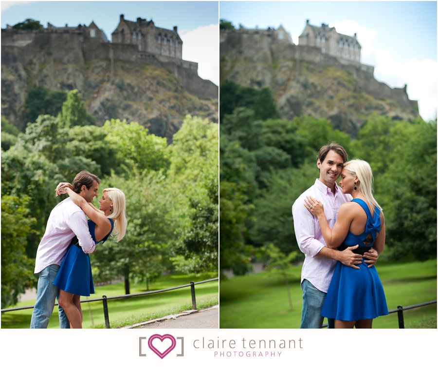 pre-wedding shoot in Princes Street Gardens