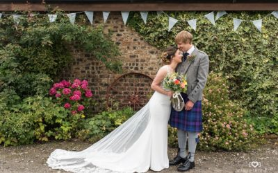 Relaxed Scottish farm wedding reception near Edinburgh