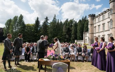 Summer outdoor wedding at Melville Castle Hotel