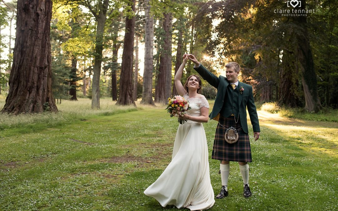 Oxenfoord Castle wedding photography on a sunny day