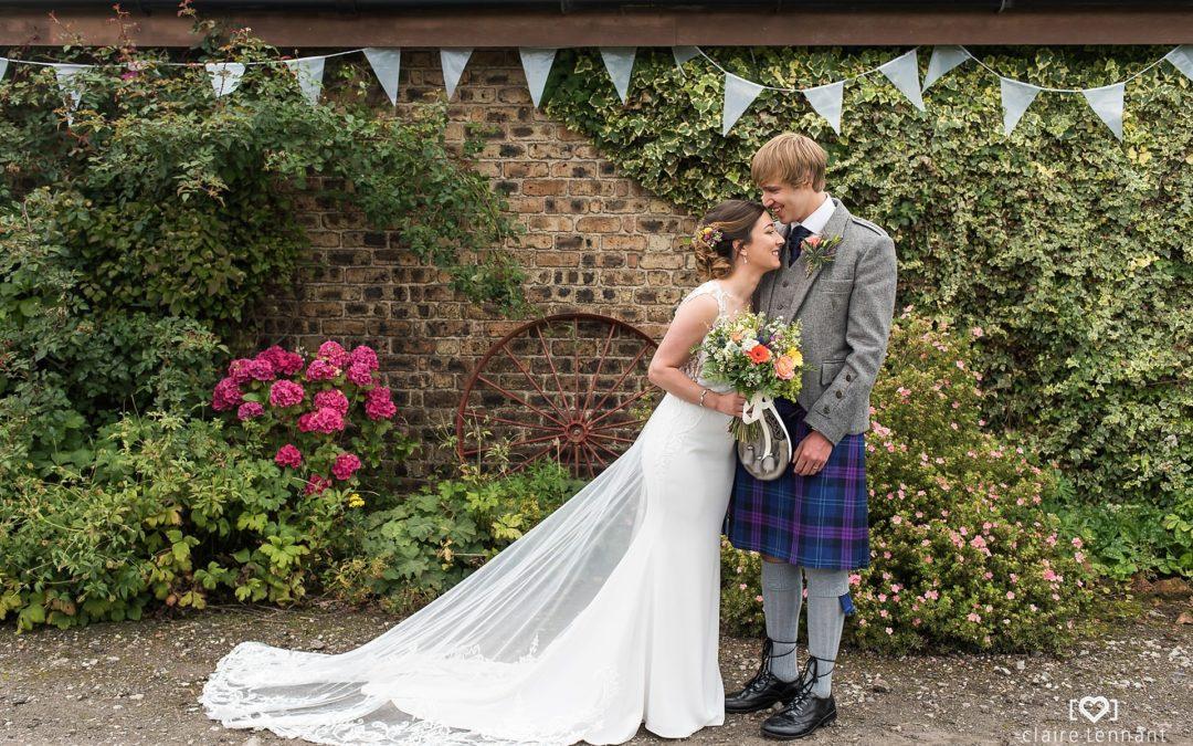 Relaxed Scottish farm wedding reception near Edinburgh