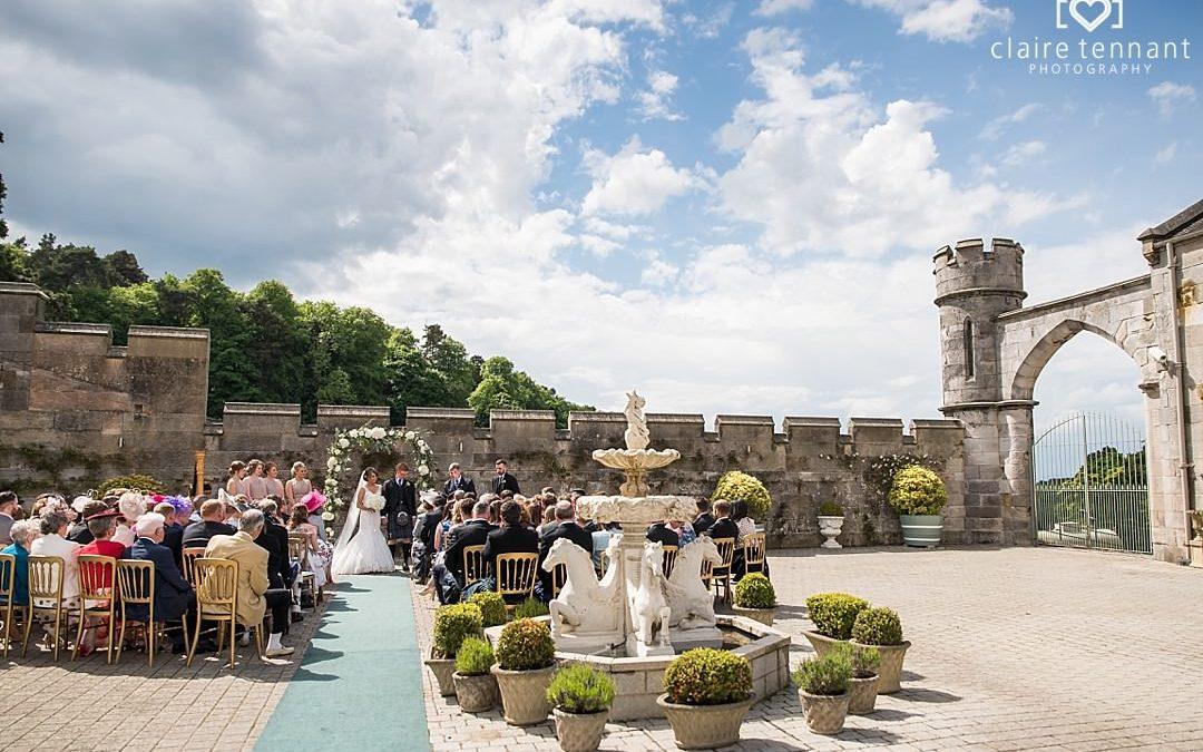 Summer outdoor wedding at Dundas Castle