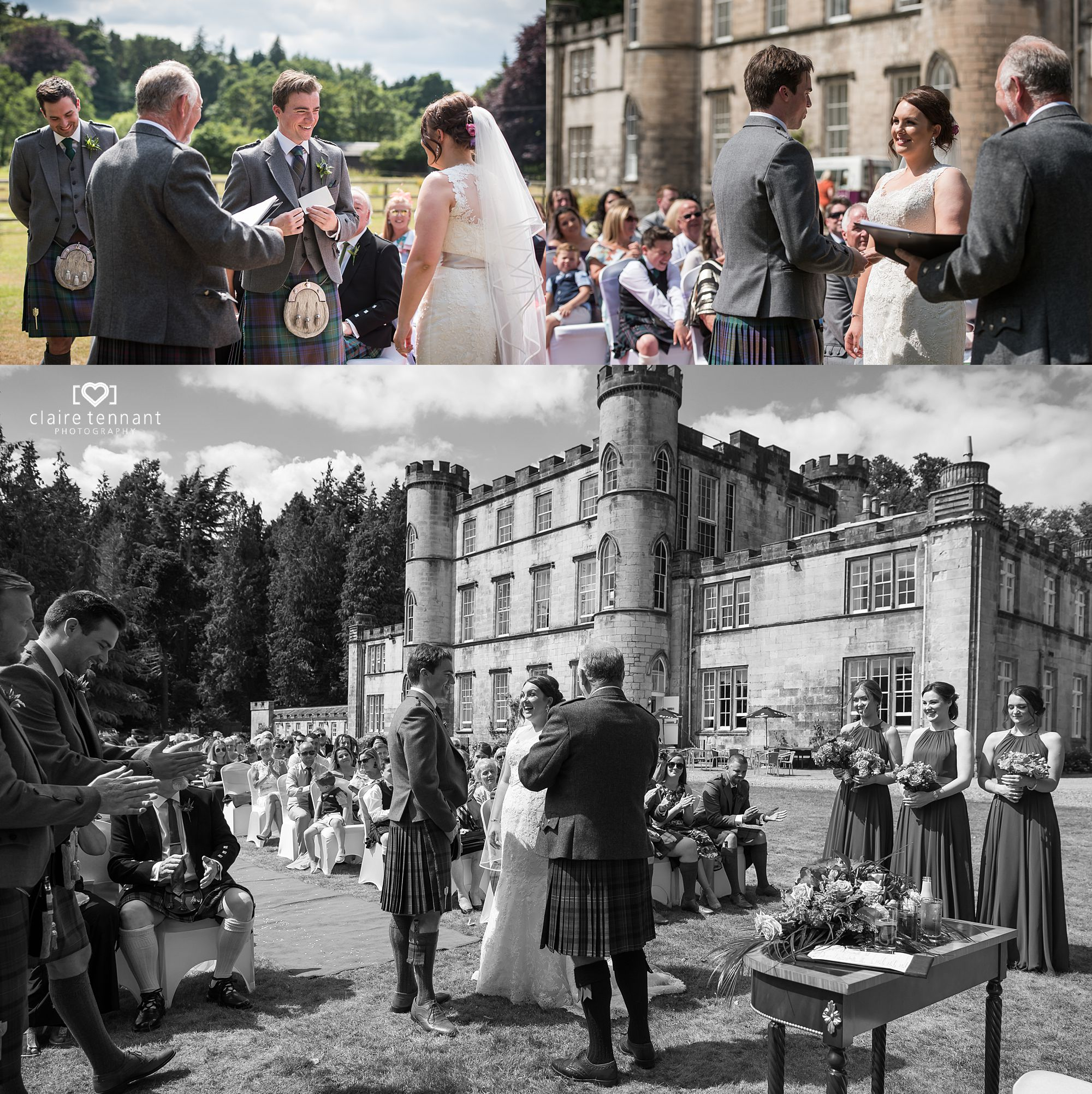 outdoor wedding at Melville Castle Hotel